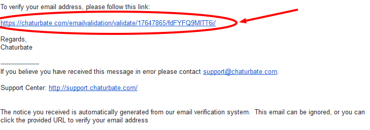 Chaturbate verification email